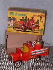 VINTAGE SSS INTERNATIONAL, TIN, FRICTION DRIVEN OLD SMOKY FIRE ENGINE IN BOX!