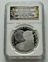 2014 Tuvalu Silver $1 Augustus Saint-Gaudens NGC PF 70 Ultra Cameo