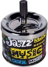 METAL ASHTRAY JAZZ MUSIC PRINTED SPINNING CIGARETTE PUSH DOWN ASHES SMOKING
