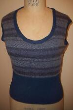 ST. JOHN Sport Blue-Grey-Purple Striped & Hounds Tooth Sleeveless Sweater Top  M