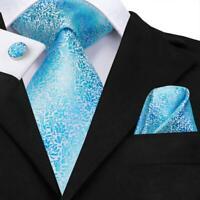 UK Blue Floral Mens Tie Woven Silk Necktie Set Handkerchief Cufflinks Wedding