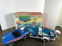Vintage Mattel Big Jim Boat N Buggy Set Near Complete With Original Box 1973