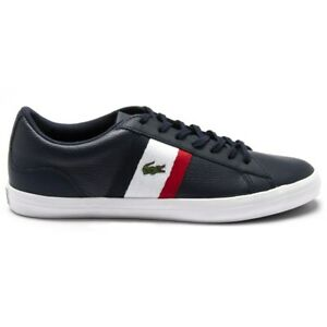 New MENS LACOSTE NAVY LEROND LEATHER Sneakers Court