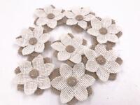 2pcs Burlap/white Fabric Flowers Burlap Décor Rustic/Country/Shabby Chic Wedding