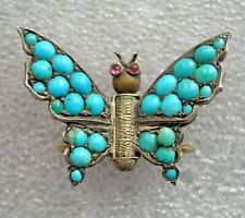Stunning antique Victorian Silver Turquoise set Butterfly brooch with Ruby eyes