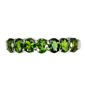 Oval Chrome Diopside 4x3mm 14K White Gold Plate 925 Sterling Silver Ring Size 9