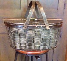 Antique Wooden Picnic Basket Hawkeye Pat 1902 Refrigerator W Tin Inserts VCG