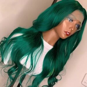 8A 180 Density Unprocessed Brazillian Bodywave green Lace Front Human Hair Wig