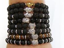 Black Lava Stone Glass Silver Buddha Bead Bracelet Gemstone