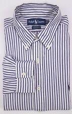 Ralph Lauren Yarmouth Shirt 15 1/2 33 Striped Blue White Mens Size Cotton Oxford