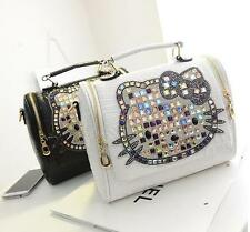 Hello Kitty Rhinestone Crocodile Pattern Leather Shoulder Tote Handbag