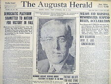 1916 display newspaper w pict DEMOCRATS NOMINATE WOODROW WILSON for US PRESIDENT
