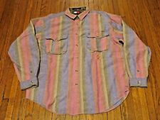VTG 90's Tommy Hilfiger Light Pink Purple Striped Button Down Shirt sz XL