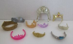 Collection of 10 Different Crowns Mostly by Mattel