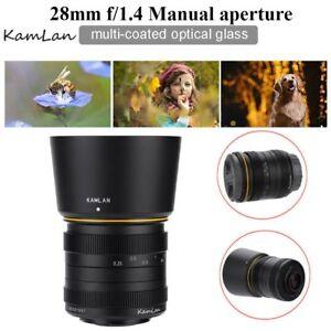 Kamlan 28mm f1.4 APS-C Large Aperture Manual Focus Lens For Olympus M4/3 M43