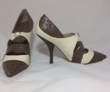 New Ask Alice Winter White & Brown High Heeled Leather Pumps SZ 37