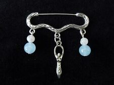 Wiccan Moon Goddess Cloak Brooch with real moonstones and aquamarine gemstones