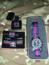 MWC G1098 AB watch with Blue Red B strap with Gren Guards Cufflink set + lighter
