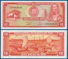 PERU 10 Soles de Oro 1974  UNC  P.100 c