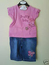 MINOTI BABY GIRL PINK T-SHIRT & JEANS - 6-12 MONTHS - NEW WITH TAGS