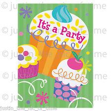 CUPCAKE Summer Garden BBQ Girls Party Invites Supplies Tableware Invitations x8