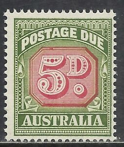AUSTRALIA SCOTT J90 MNH FINE - 1958 5p GREEN CARMINE POSTAGE DUE (A)   CAT $29