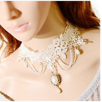 Retro  Women White Lace Pearl Pendant Collar Chain Necklace Choker for Wedding