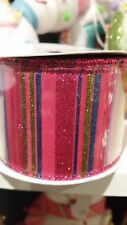 Candy Color Ribbon 2.5x 10yd. Pink,Blue and Green Glitter Stripe abrw 6247hn NEW