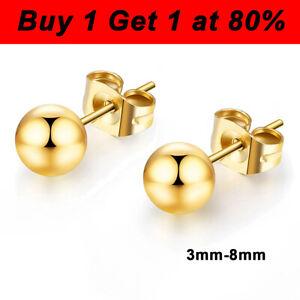 Gold Ball Round Ear Studs Surgical Steel Earrings Piercing Ear Stud 3/4/5/6/8mm