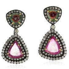 Tourmaline Diamond Dangle Earrings 18k Gold Sterling Silver Women's Jewelry