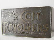 Beltbuckle COLT REVOLVERS-WORLD'S RIGHT ARM Vintage Lewis Buckles Chicago Bronze