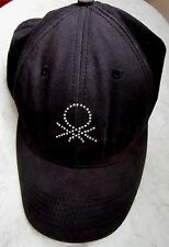 UNITED COLORS OF BENETTON Black Embroidered Distressed Cap Hat Adjustable