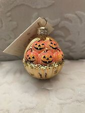 Patricia Breen Halloween Ornament Pumpkins Basket Gold W/ Stars Nwt Signed