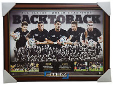 2011 & 2015 ALL BLACKS RUGBY WORLD CUP CHAMPIONS BACK TO BACK L/E PRINT FRAMED