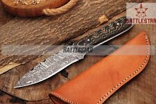 9 INCH FANCY TWIST PATTERN SKINNER DAMASCUS EVERYDAY/ CAMPING KNIFE HANDLE G10