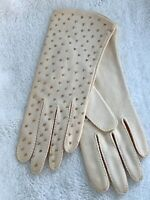 Vintage Ex. Small Beaded Dress Gloves , Cream Color 8 1/4""