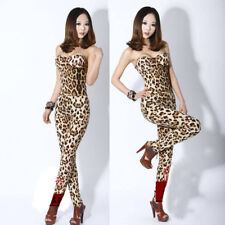 Women Leopard Strapless Beadeau Stretchy Jumpsuit Rompers Clubwear Playsuit
