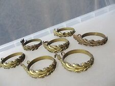 Antique Brass Curtain Rings French Gilt Leaf Rococo Baroque 1800's Gilded x7