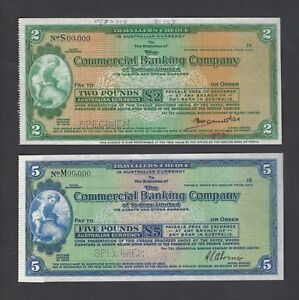 Australia ,The Commercial Bank of Sydney 2-5 Pounds ND Specimen Cheques