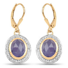 925 Sterling Silver Leverback Earrings 7.42ct Genuine Purple Tanzanite & Accents