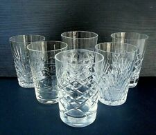 """6 mismatched cut crystal & glass small whisky / pony glasses - 8.5 cms (3.35"""")"""