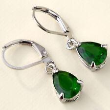 New Silver Plate Emerald Green CZ Teardrop Pear Shaped Leverback Dangle Earrings