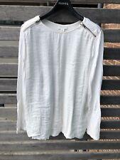 Witchery Plain White Long Sleeve Top w/ Zip Shoulders Sz S