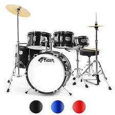 More details for tiger junior drum kit for kids - 5 piece childrens drum set with stool and stick