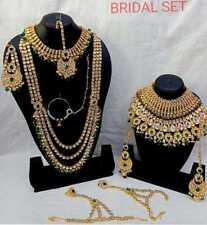 Indian New Gold Kundan Bridal Fashion Ethnic Wedding Jewelry 9 Pcs Combo Set