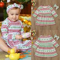 2pcs Toddler Infant Kids Baby Girls Long Sleeve Dress+Headband Xmas Clothes Set