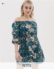 Ladies Parisian Petite Size 10 Green Off Shoulder Floral Print Dress