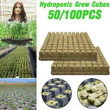 "50/100pcs 1"" A OK Rockwool Stonewool Hydroponic Grow Media Starter Cubes Plugs"