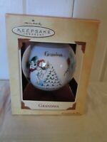 Hallmark Keepsake Christmas Glass Ball Ornament Grandma 2002 In Box Polar Bear