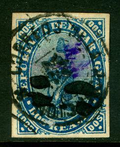 PARAGUAY 1878 LION - BLACK SURCH.  handstamp  5c /2r blue  Scott# 7 used